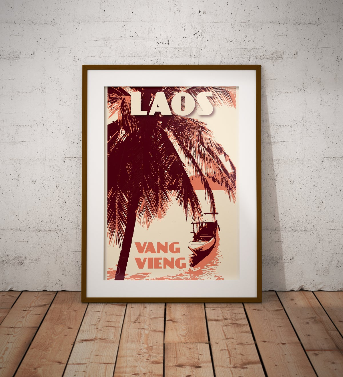 Image of Vintage poster Laos - Vang Vieng - Canoe - Fine Art Print