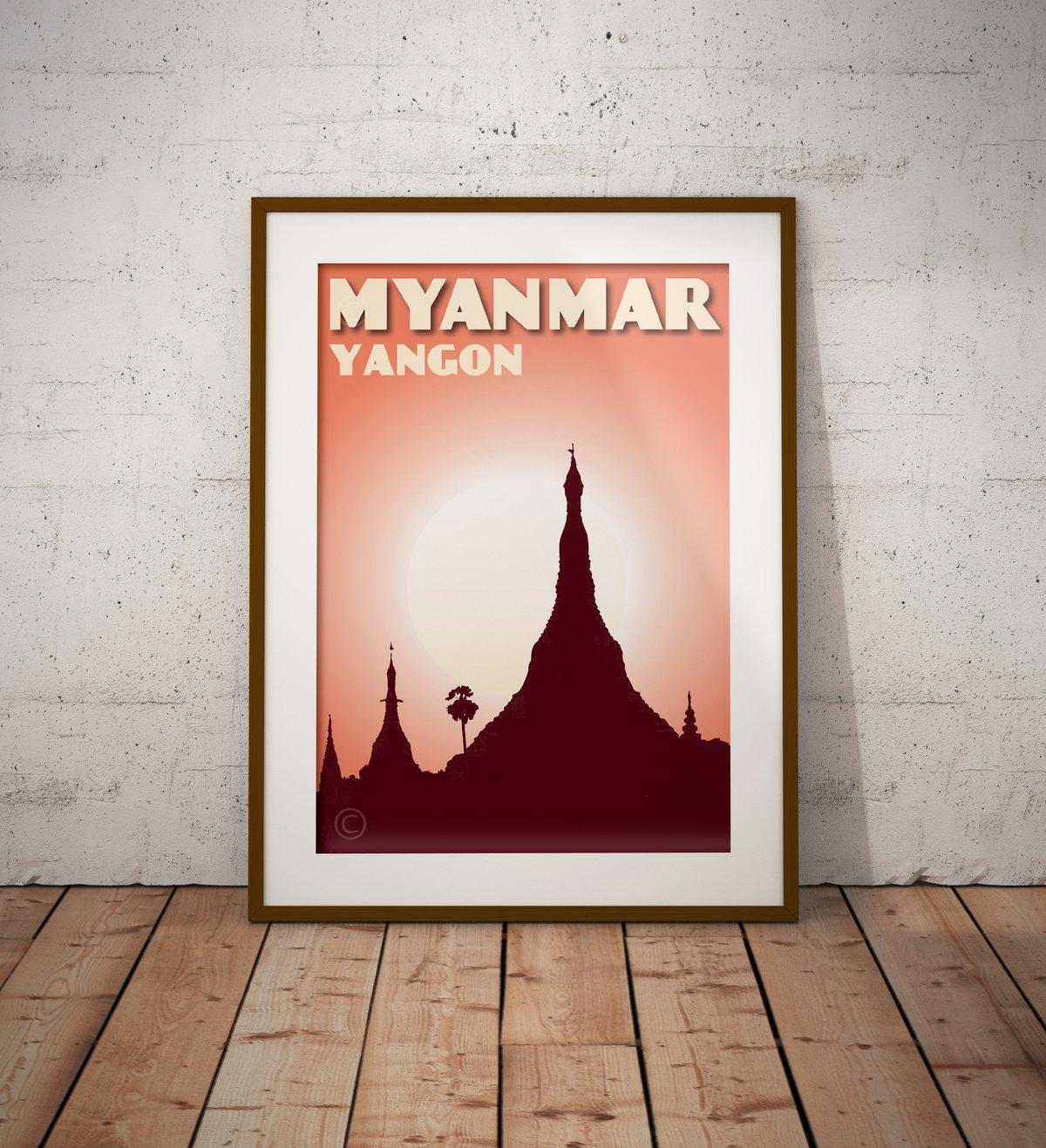 Image of Vintage poster Myanmar - Yangon -Shwedagon Coral - Fine Art Print