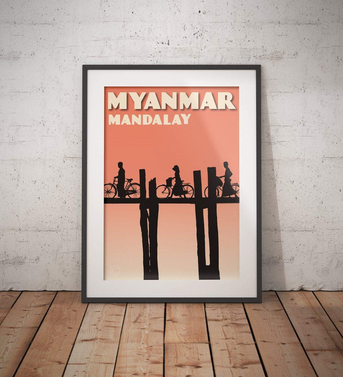 Image of Vintage poster Myanmar - Mandalay - U Bein Bridge - Fine Art Print