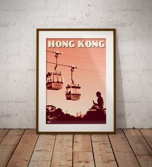Image of Vintage poster Hong Kong - Lantau Island - Ngong Ping 360 - Coral - Fine Art Print