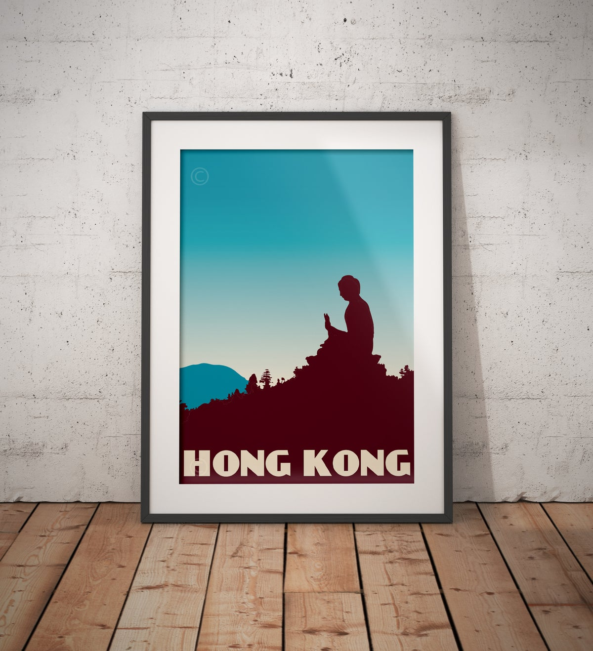 Image of Vintage poster Hong Kong - Tian Tan Buddha - Blue - Fine Art Print