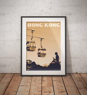 Image of Vintage poster Hong Kong - Lantau Island - Ngong Ping 360 - Mustard - Fine Art Print