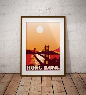 Image of Vintage poster Hong Kong - Tsing Ma Bridge - Fine Art Print