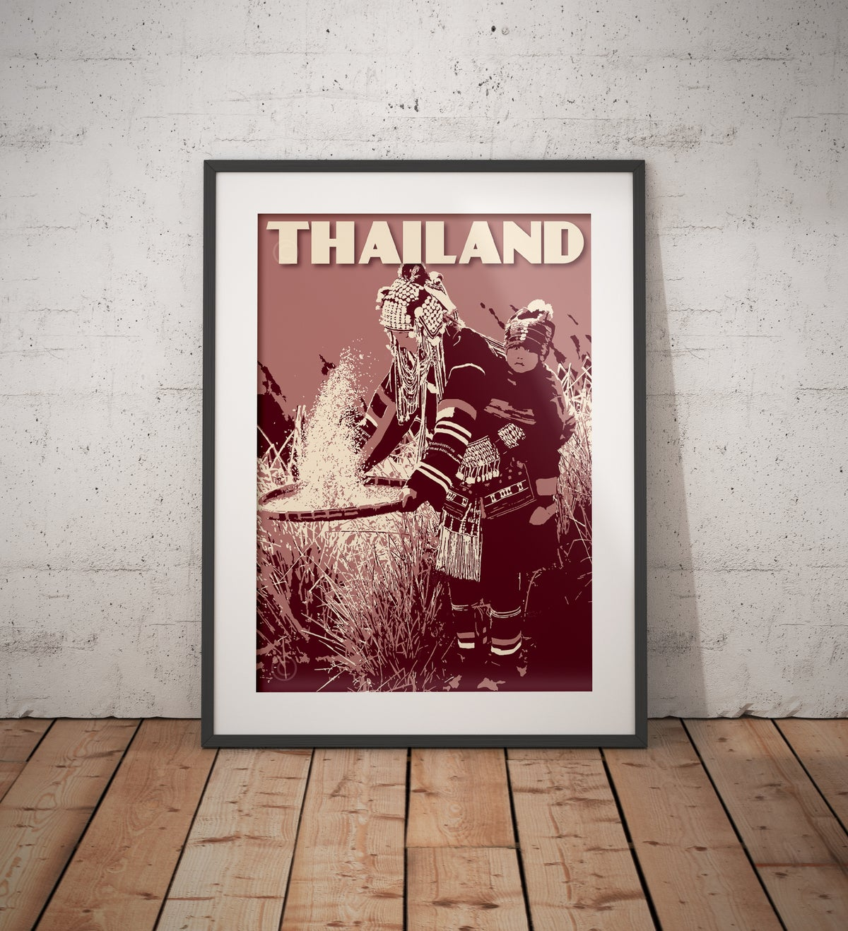 Image of Vintage poster Thailand - Mother and baby - Fine Art Print
