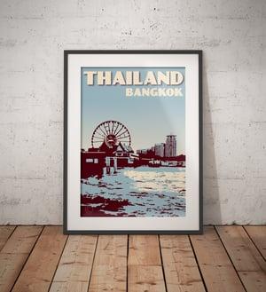 Image of Vintage poster Thailand - Bangkok - Chao Phraya River Blue - Fine Art Print