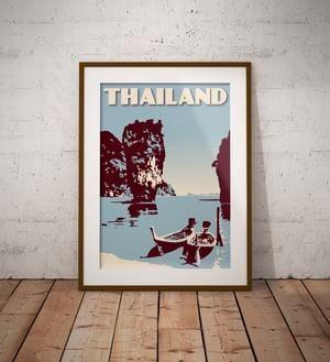 Image of Vintage poster Thailand - Phang Nga Bay Blue - Fine Art Print