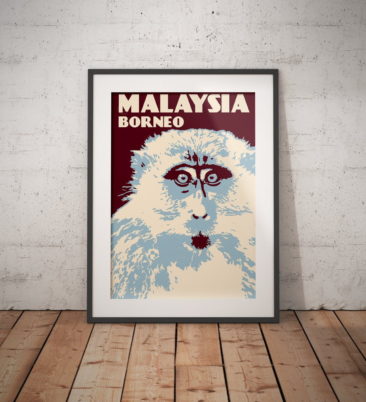 Image of Vintage poster Malaysia - Borneo - Macaque - Fine Art Print