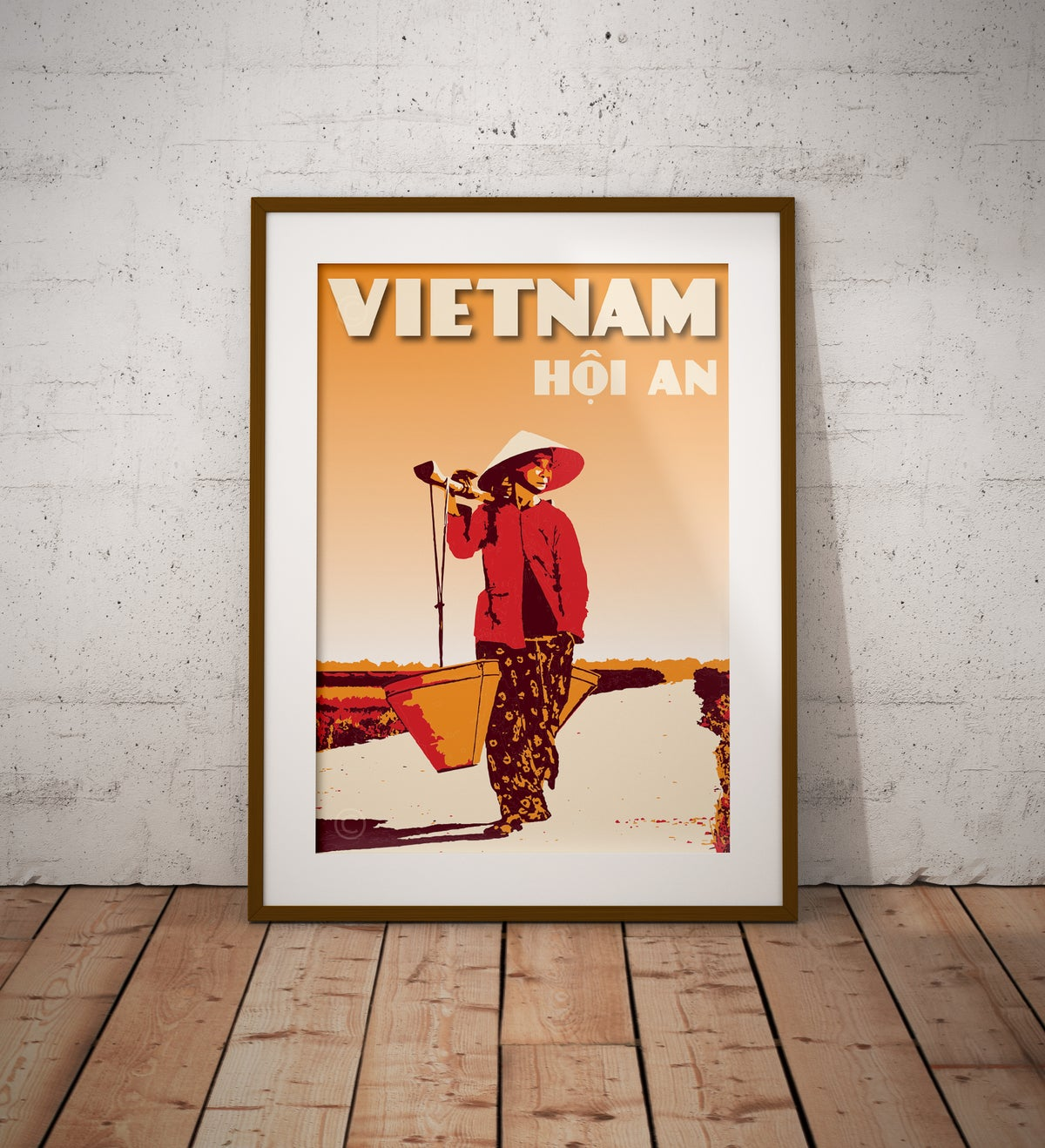 Image of Vintage poster Vietnam - Hoi An Woman in the rice field - Fine Art Print