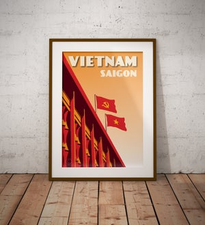 Image of Vintage poster Vietnam - Saigon Independance palace - Fine Art Print