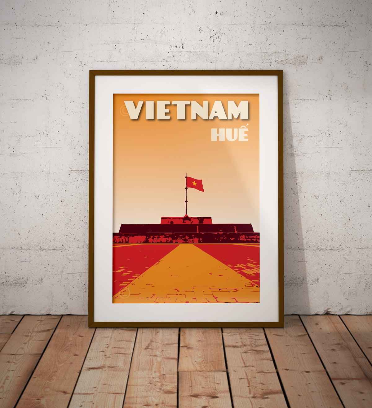 Image of Vintage poster Vietnam - Hue communist flag - Fine Art Print