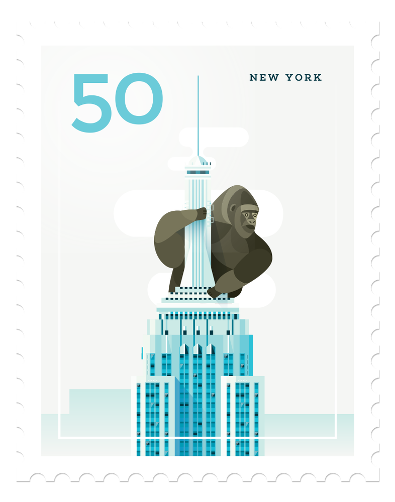 Image of Mini Art Print - Stamp : New York