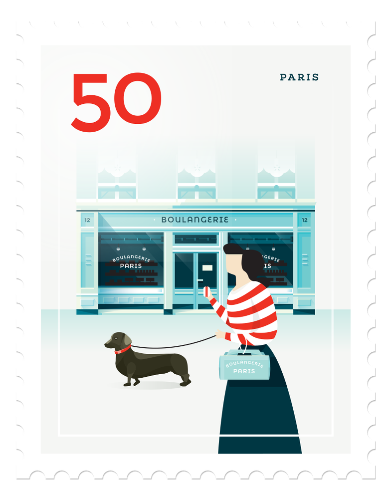 Image of Mini Art Print - Stamp : Paris