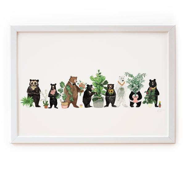 Image of Bears and Plants on White