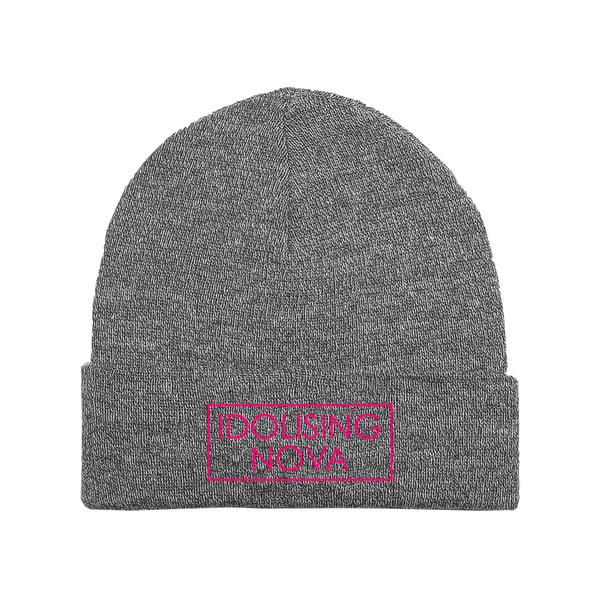 Image of Grey Beanie w/ Pink Logo