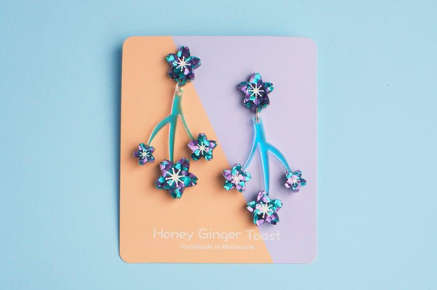 Image of Cherry Blossom Earrings - Mermaid Glitter