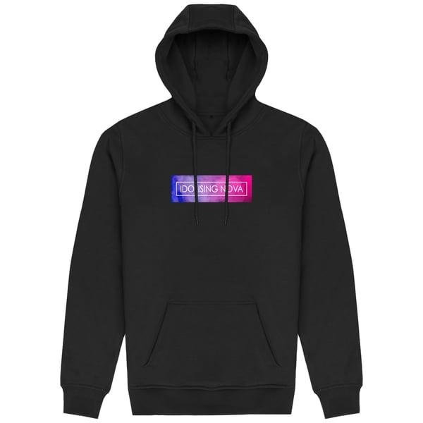 Image of Black Hoodie w/ Pink & Blue Smoke Logo