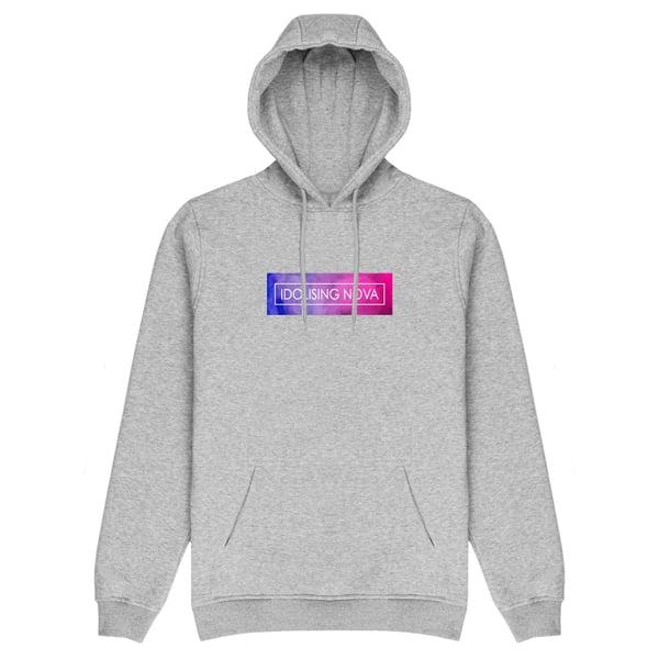 Image of Grey Hoodie w/ Pink & Blue Smoke Logo