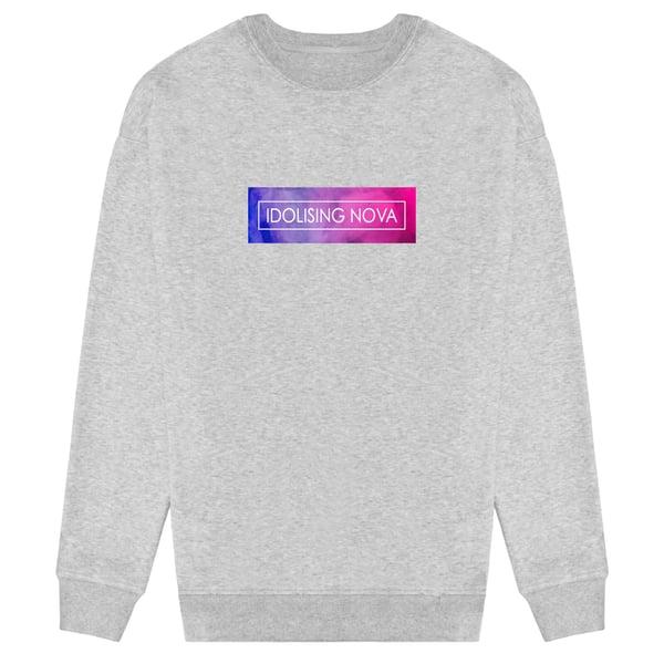 Image of Grey Sweater w/ Pink & Blue Smoke Logo