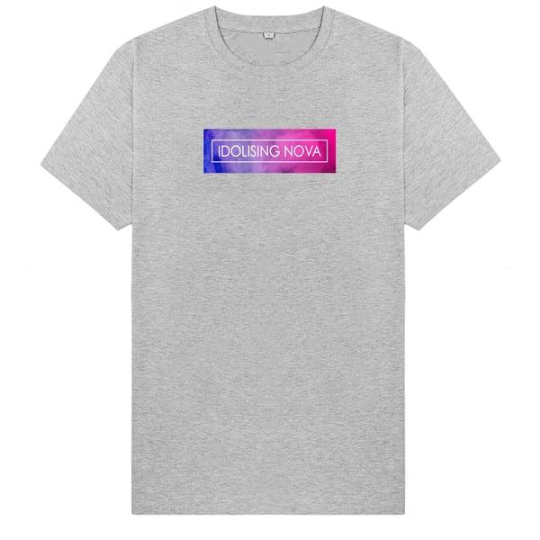 Image of Grey T-Shirt w/ Pink & Blue Smoke Logo