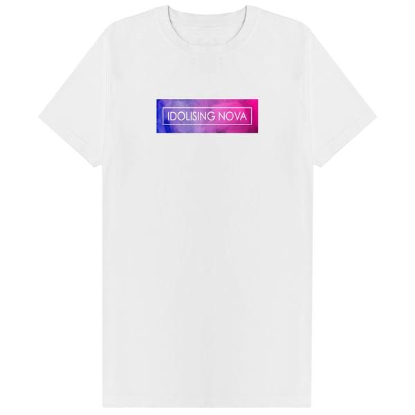 Image of White T-Shirt w/ Pink & Blue Smoke Logo