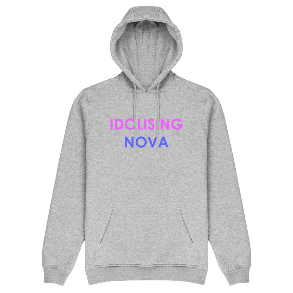 Image of Grey Hoodie w/ Purple & Blue Logo