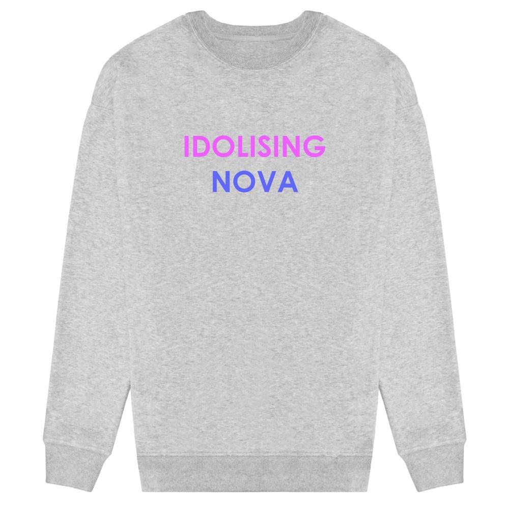 Image of Grey Sweater w/ Purple & Blue Logo