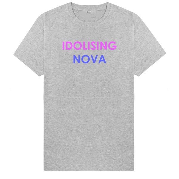 Image of Grey T-Shirt w/ Purple & Blue Logo