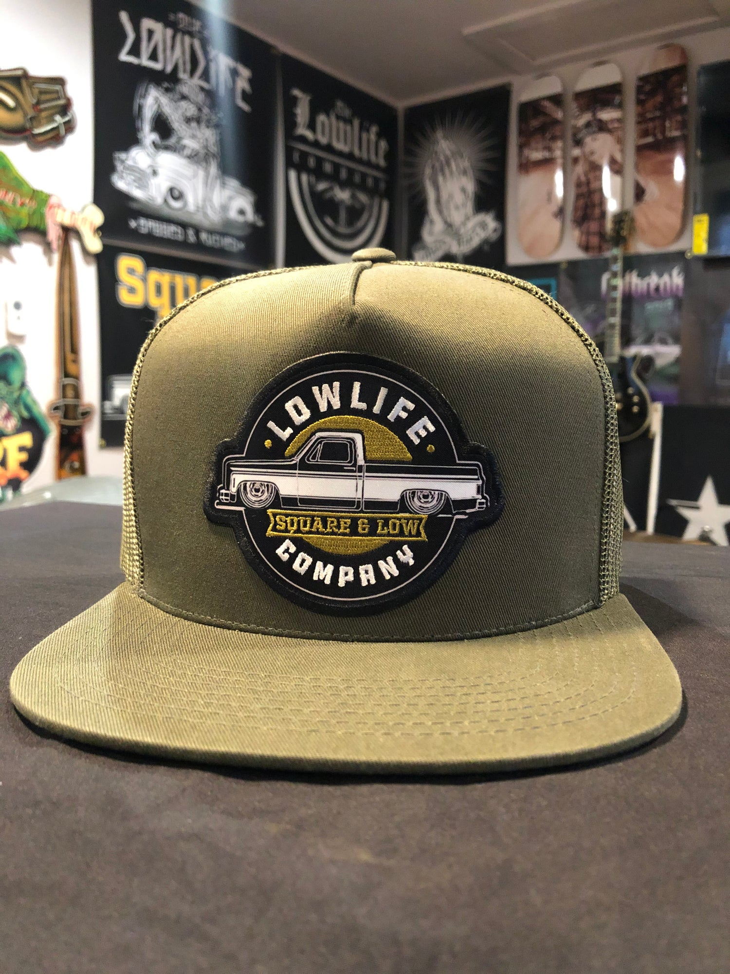 Image of Square & Low Olive Green Structured Trucker