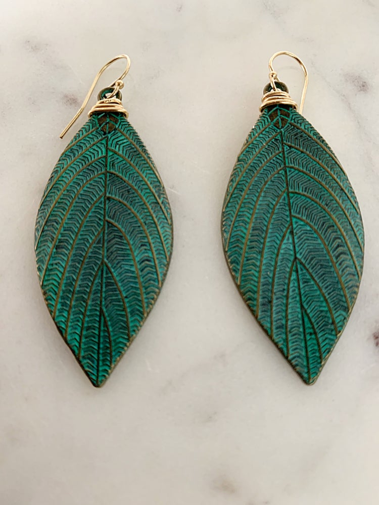 Image of Patina Leaf Earrings