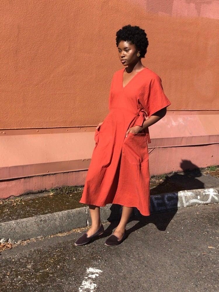 Image of Rust Linen Tie Back Dress