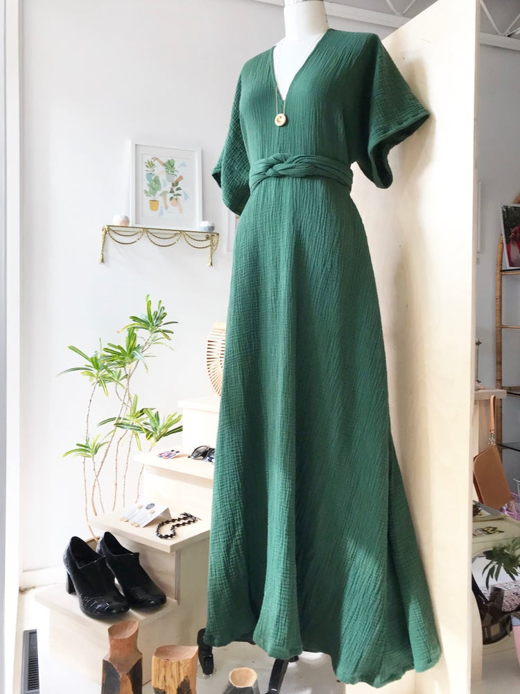 Image of Fern Double Gauze Gown with Braided Belt
