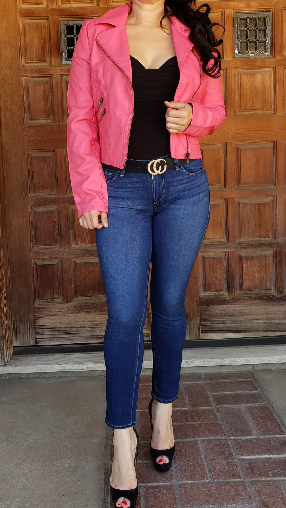 Image of Pink Faux Leather Jacket