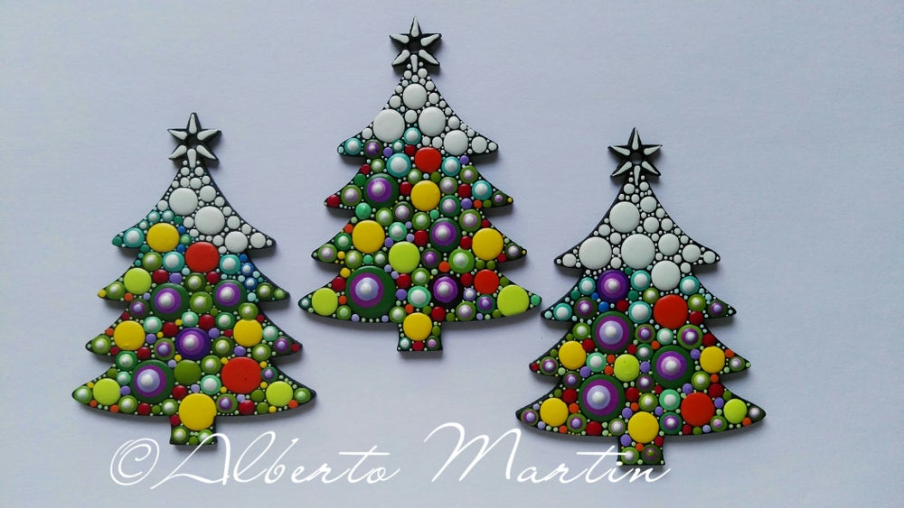 Image of (Number 2). New Christmas tree ornaments - Dot art Christmas decor. Set of 3.