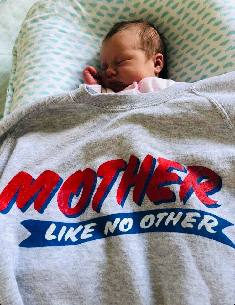 Image of Mother Like No Other Red & Blue print sweater