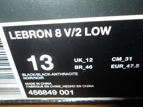 """Air Max LeBron VIII (8) V2 Low """"Triple Black"""" *USED* - SIZE13ONLY by 23PENNY"""