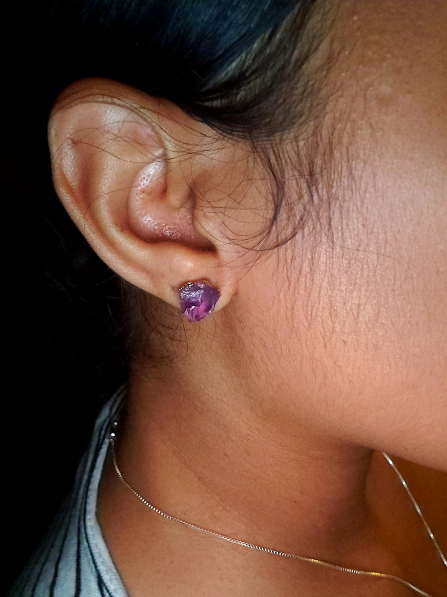 Image of Amethyst Stud Earrings   protection   purification   soothes irritability   psychic ability