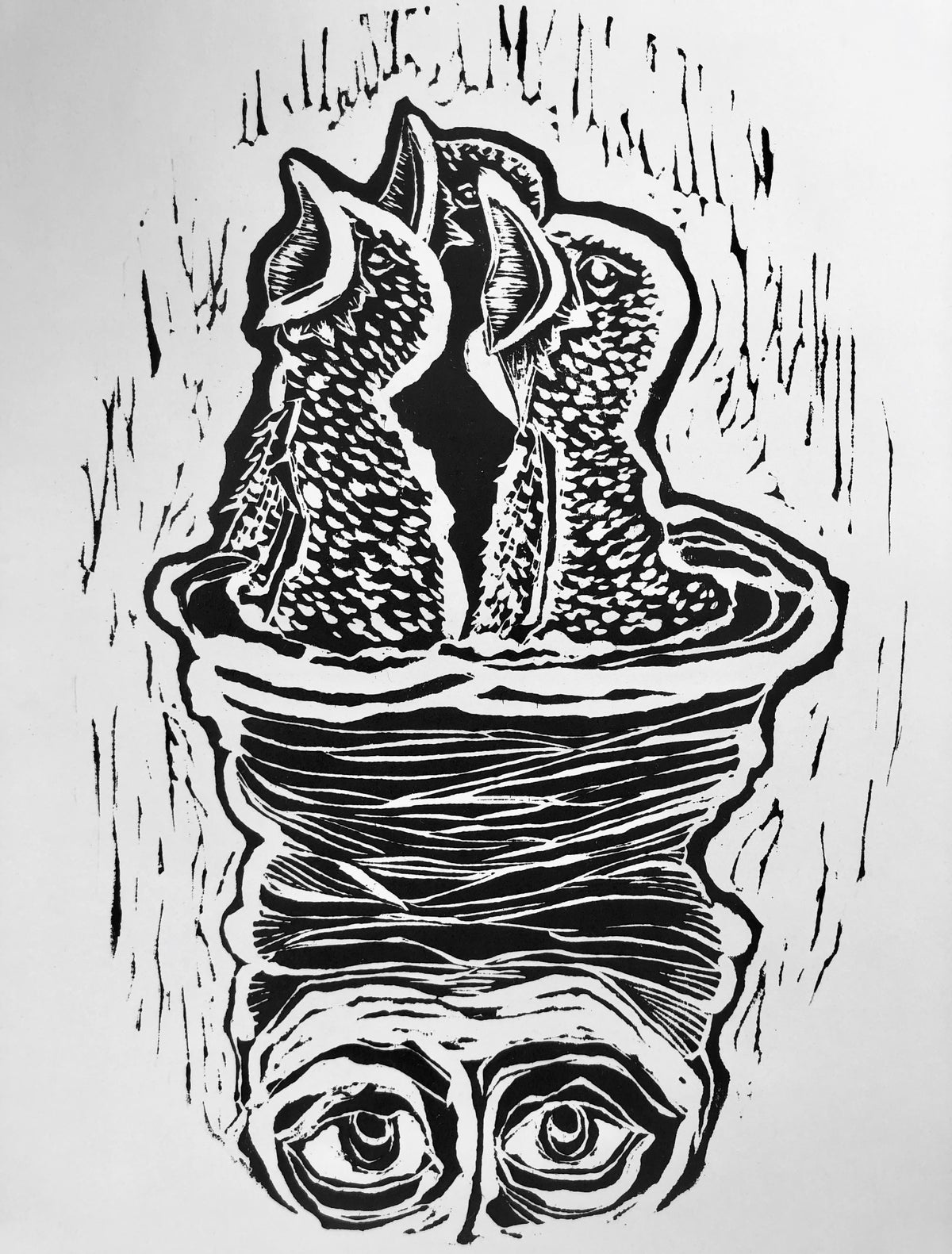 "Image of ""Good Morning"" Black ink/white paper"