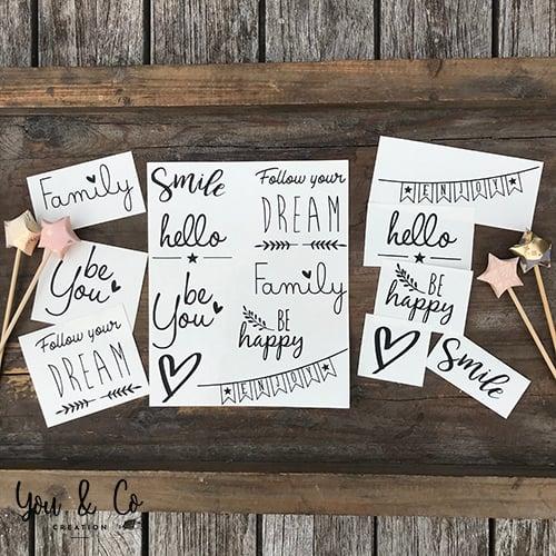 """Image of Planche de 8 stickers """"Petits mots"""" (version 1)"""