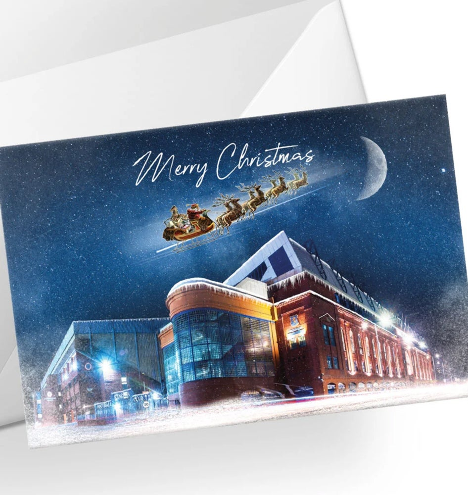 Image of Ibrox at Night in The Snow - Christmas Card