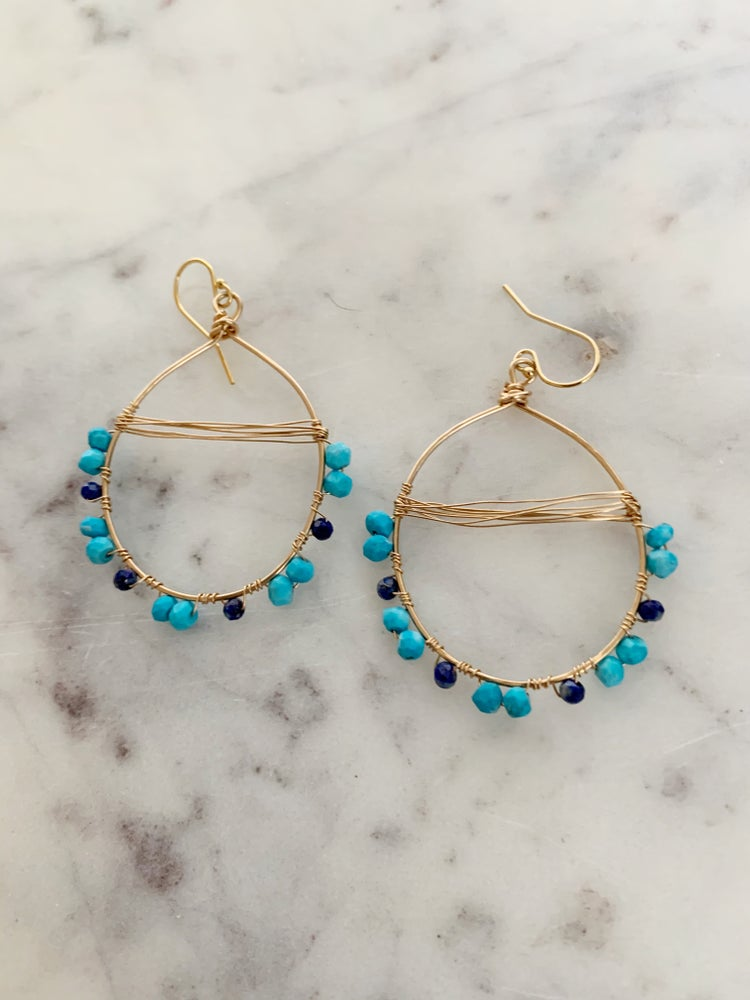 Image of Lapis and turquoise earrings