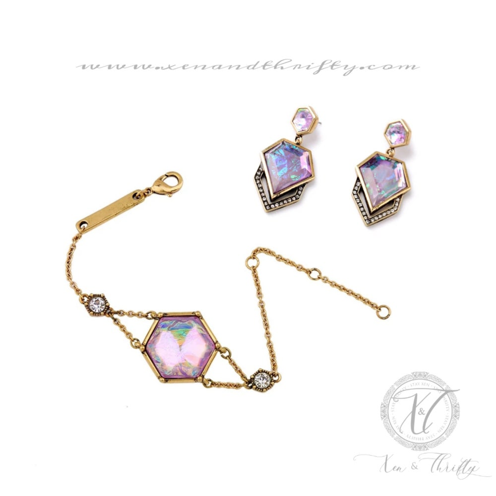 Image of Iris Earring & Bracelet Set