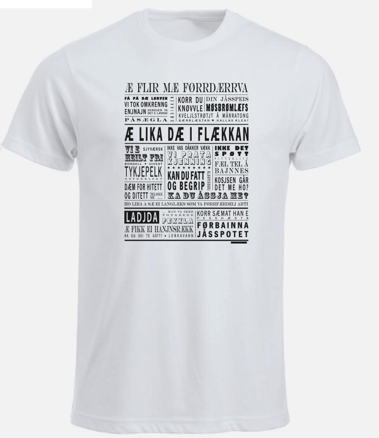 "Image of T-skjorte ""Æ lika dæ i flækkan"" Hvit (Bodø/Salten)"