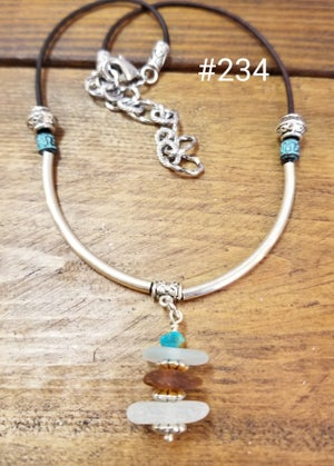 Image of Sea Glass Leather Necklace w/silver tubes-234