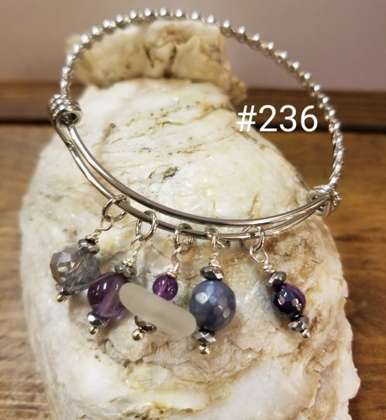 Image of Sea Glass-Sodalite-Amethyst Bangle-#236