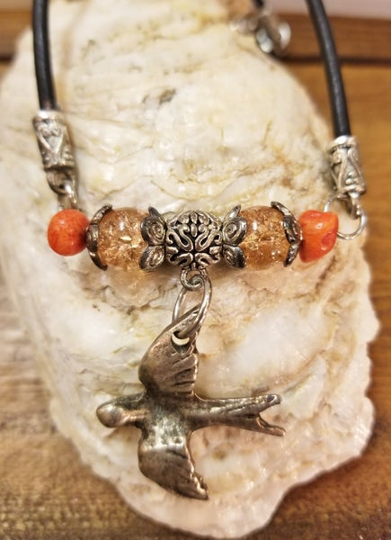 Image of Greek silver bird w/ coral-czech crystal- Leather- #237