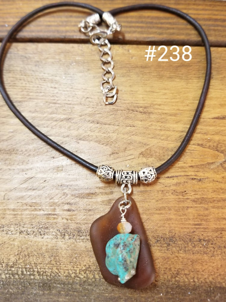 Image of Sea Glass-Turquoise-Leather Necklace- #238