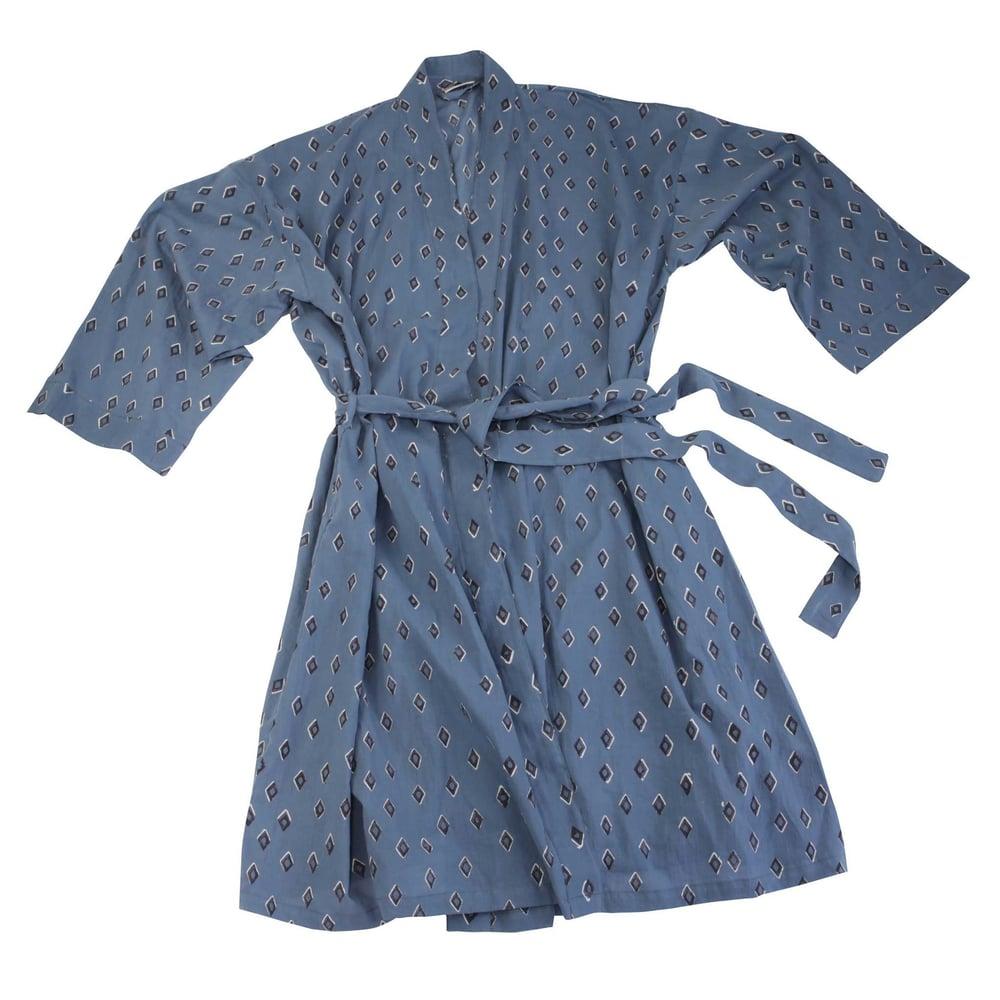 Image of Cotton Robe - Tiz Ocean Block Print