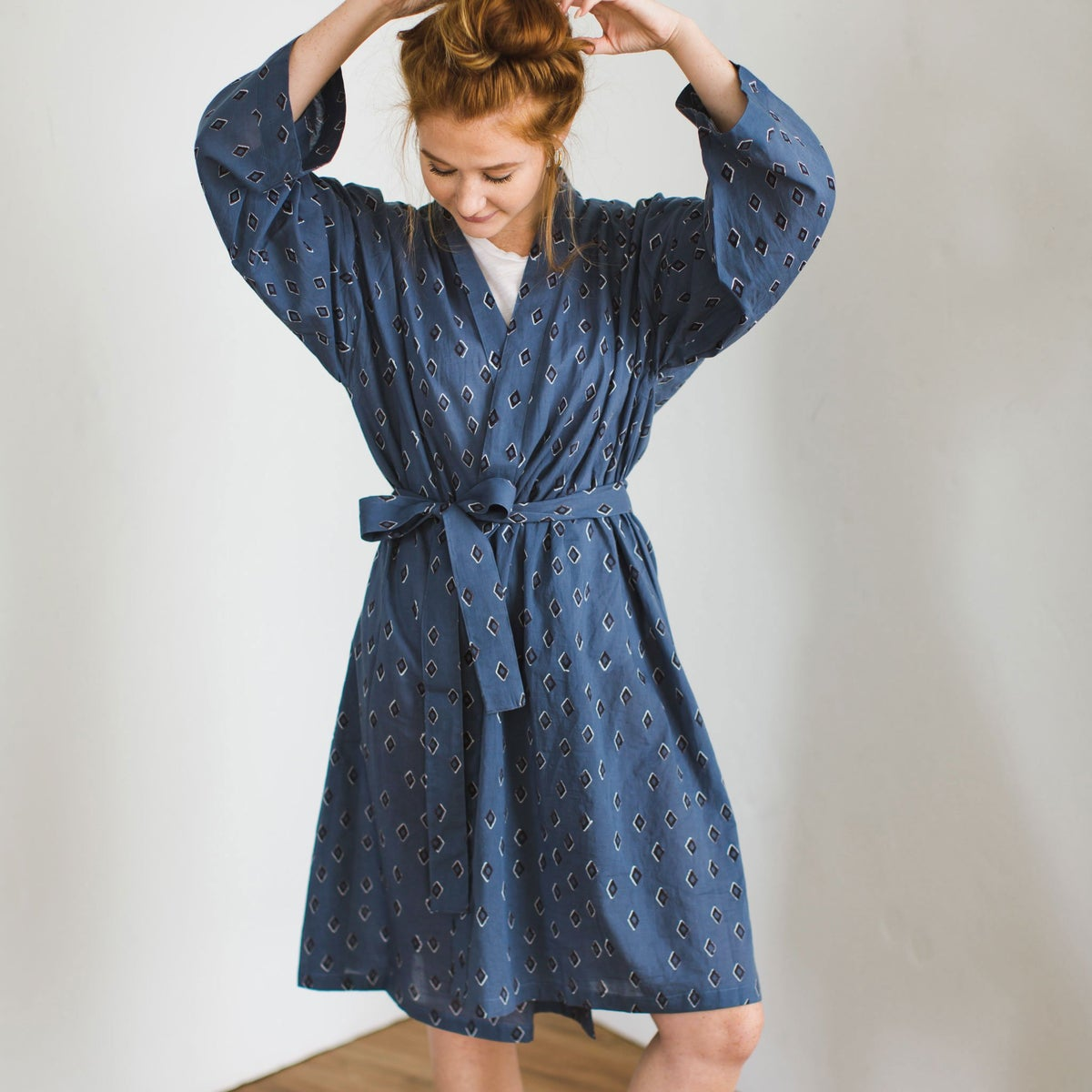 Image of Cotton Robe - Tiz Ocean Block Print