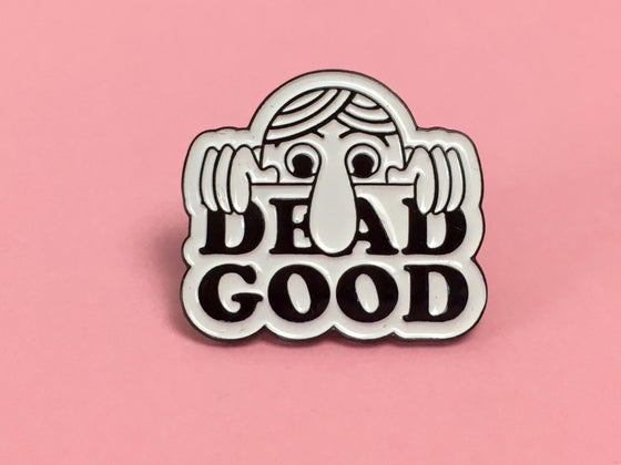 Image of Dead Good Kilroy enamel badge.