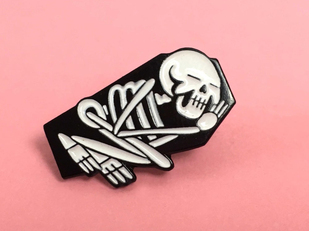 Image of Sleep when your Dead enamel badge.
